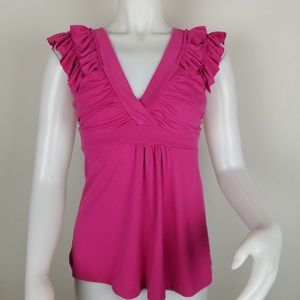 L8ter Small Pink Cap Sleeve Ruffled W/Tie Back